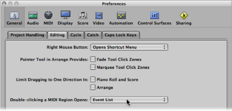 """Figure. General Editing preferences showing """"Double-clicking a MIDI Region opens"""" pop-up menu."""