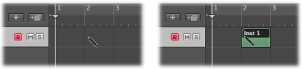 Figure. Arrange area showing creation of empty MIDI region with the Pencil tool.