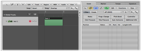 Figure. Arrange area showing empty MIDI region.