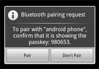 Figure 3: The Bluetooth pairing dialog.