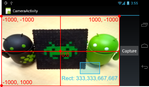 Figure 1. The red lines illustrate the coordinate system for specifying a Camera.Area within a camera preview. The blue box shows the location and shape of an camera area with the Rect values 333,333,667,667.