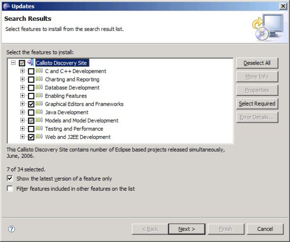 Select features for installation